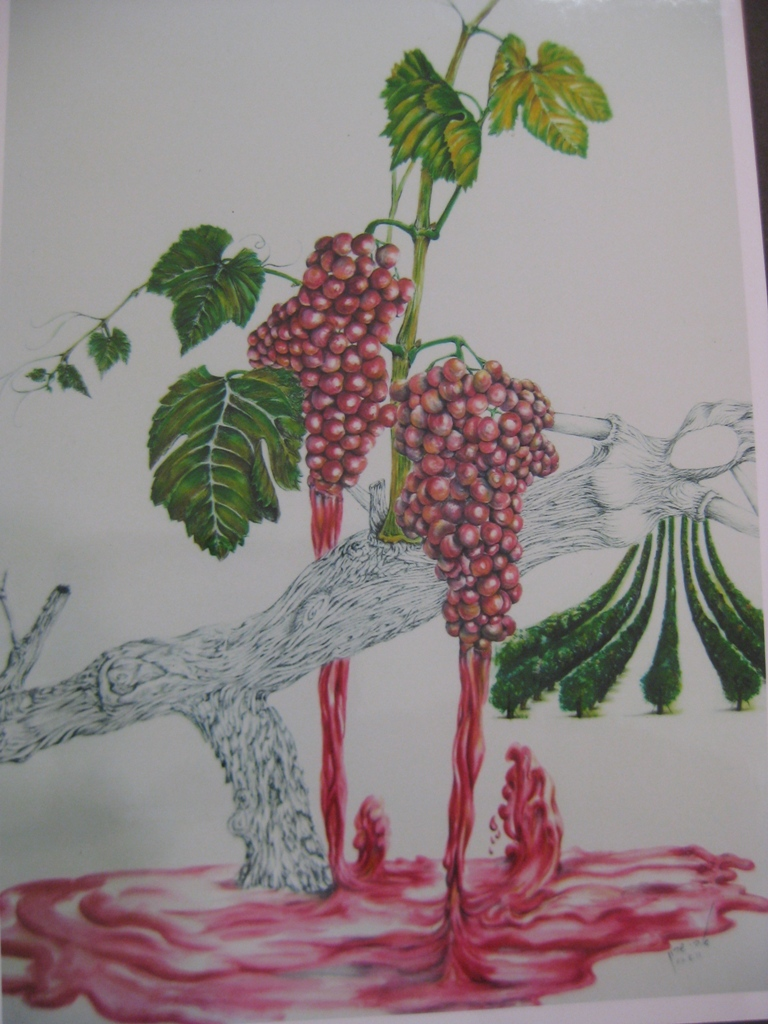 Wine Feast  H 99 cm x  W 74 cm Colored Pencils & Ink