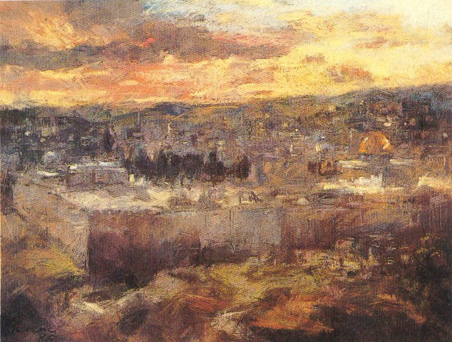 Jerusalem at sunset   Pastel   W 61 cm  x H 51 cm