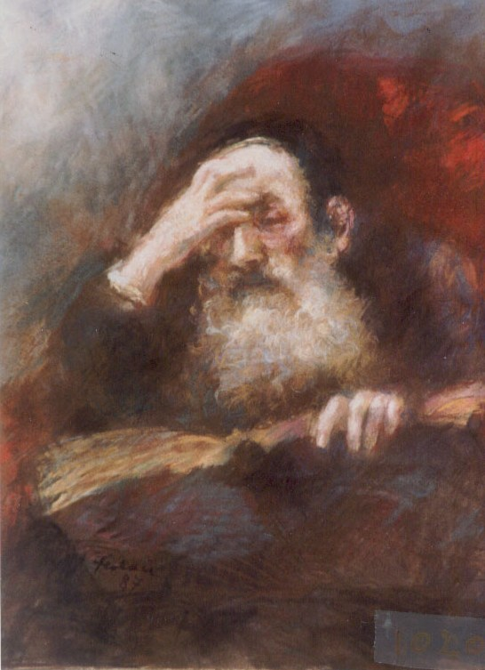 Thinking Rabbi   Pastel   W 51 cm  x H 61 cm